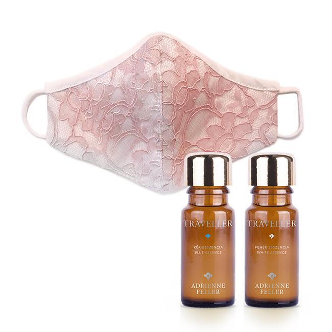 Útitárs csomag női rózsaszín csipke maszkkal